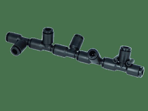 Fünffach-Durchgangsverteiler 2x 6 mm auf 5x 6 mm - schwenkbar