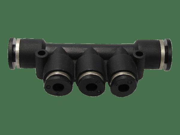 Dreifach-Durchgangsverteiler 2x 8 mm auf 3x 4 mm