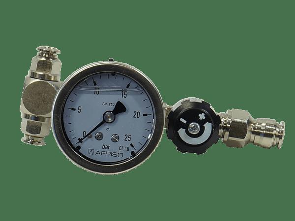 Bypass für Druckpumpen stufenlos regelbar mit Manometer
