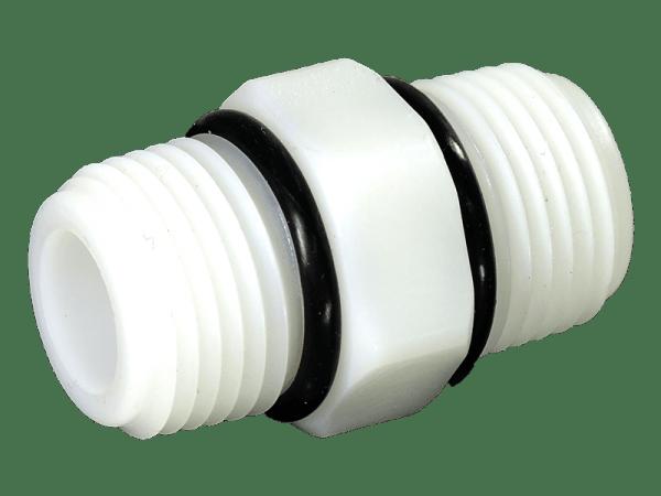Doppelnippel PE 1/2 Zoll AG mit O-Ringen