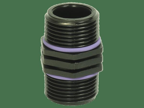 Doppelnippel 1/2 Zoll Polypropylen schwarz mit O-Ringen