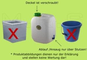 Keine nicht dicht schliessenden Wasserbehälter verwenden!