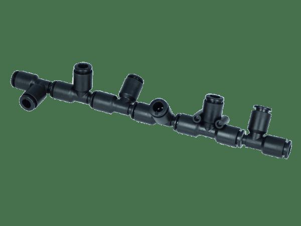 Sechsfach-Durchgangsverteiler 2x 6 mm auf 6x 6 mm - schwenkbar