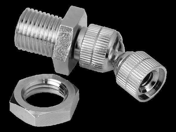 Düsenträger mit Kugelgelenk 30° schwenkbar und Schottverbinder