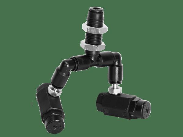 Doppeldüse Black-Line 360° schwenkbar mit Schottverbinder 4 mm